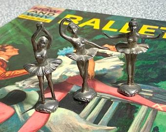Set of 3 vintage pewter miniature ballerina figures