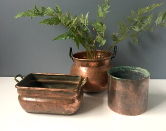 Beau Copper Planters   Set Of 3 Rustic Decorative Plant Pots   Bohemian Vintage