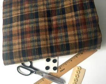 4.25 yards vintage dark madras plaid heavy duty cotton - perfect for clothing or home dec - 1960s