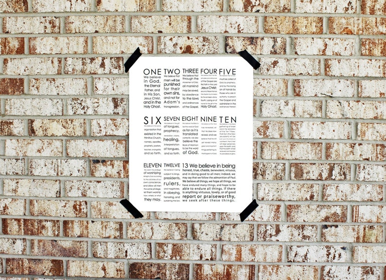 Printable  We Believe  13 Articles of Faith  INSTANT image 0