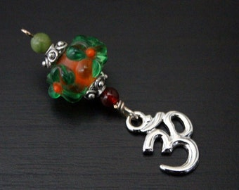 Green serpentine and red agate Lucky Flower Butterfly, Om or Hamsa / Hand of Fatima Blessingway bead - midwife gift, doula gift, Blessing