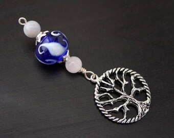 Blue Chalcedony and Rose Quartz Moonlight Reflections Tree of Life Blessingway bead - Blessing bead, baby shower gift, pendant, doula gift