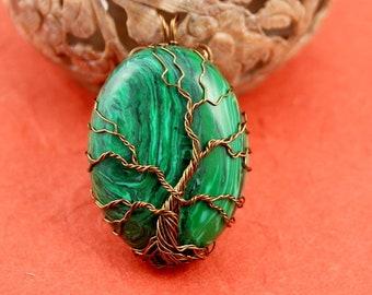 Malachite brass wire Tree of Life pendant, green tree pendant, Christmas tree pendant, Yggdrasil, World Tree pendant