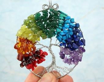 Rainbow Tree of Life pendant - Red coral, garnet, jasper, amber, jade, peridot, aventurine, turquoise, howlite, lapis lazuli, amethyst