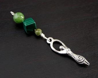 Jade Malachite Green Serpentine Birth Goddess Blessingway bead - Blessing, baby shower gift, pregnancy gift, doula gift, malachite pendant