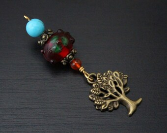Turquoise and red agate Eastern Treasure Tree of Life or Hamsa / Hand of Fatima Blessingway bead - Blessing, midwife gift, doula gift