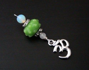 Snow quartz and opalite Green Om, Key or Hamsa / Hand of Fatima Blessingway bead - midwife gift, doula gift, birth pendant