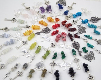 Gemstone Blessingway beads and Birthstones - Choose your stone and charm - Birth beads - Baltic amber, amethyst, moonstone, garnet, and more