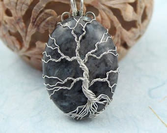 Larvikite Tree of Life silver-plated wire-wrapped pendant, Yggdrasil, World Tree pendant