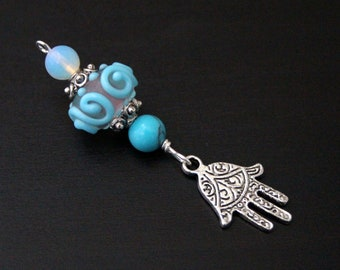 Turquoise and opalite Ocean Waves Turtle, Butterfly or Hamsa / Hand of Fatima Blessingway bead - Blessing bead, midwife gift, doula gift