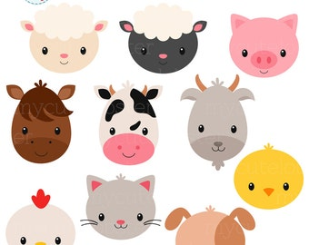 Farm Animal Faces Clipart Set