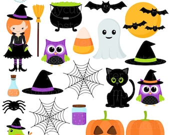 halloween clipart etsy rh etsy com halloween clip art images black and white halloween clip art images black and white