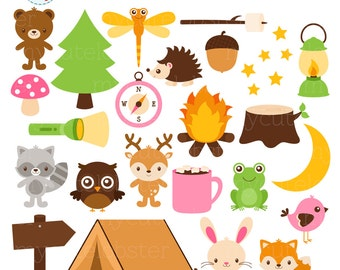 Camping Animals Clipart Set