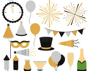 new years celebration clipart set fireworks bunting party champagne balloons personal use small commercial use instant download