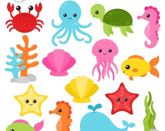 sea creature etsy rh etsy com sea creature clipart free sea creature clipart images