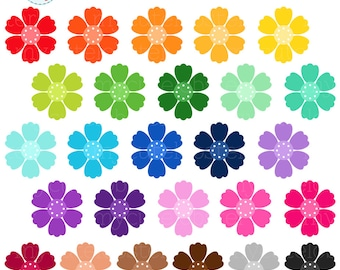 Rainbow flowers clipart set flower clip art spring flowers etsy rainbow flowers clipart set flower clip art floral rainbow flower spring flowers personal use small commercial use instant download mightylinksfo