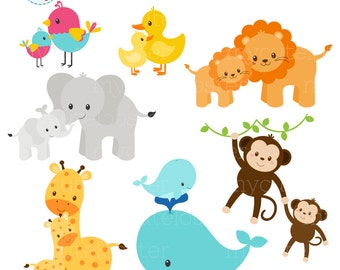 baby safari animals clipart set clip art set of monkey etsy rh etsy com baby animal clip art pictures baby animal clipart black and white