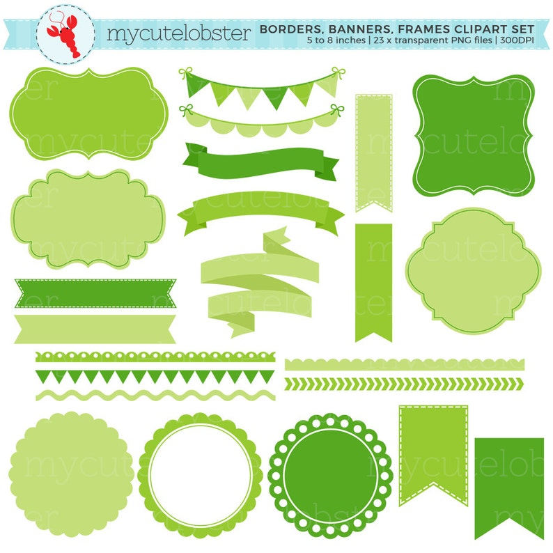 small commercial use personal use tags Banners /& Frames Clipart Set Borders green frames instant download borders clip art set