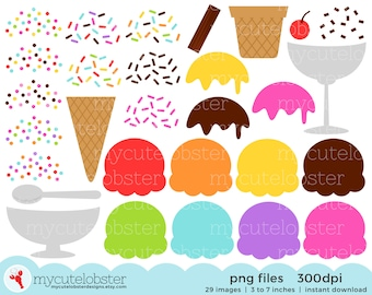 Ice Cream Clipart Set - build your own ice cream kit, clipart set, ice cream clip art - personal use, small commercial use, instant download