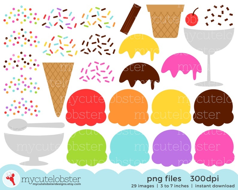 Ice Cream Clipart Set  build your own ice cream kit clipart image 1