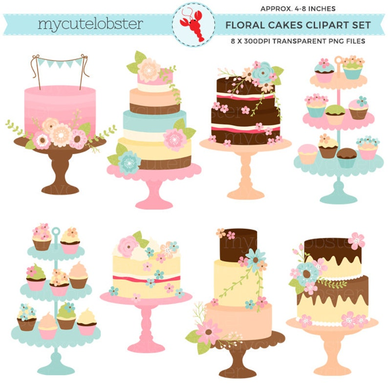 23acaef02a1 Floral Vintage Cakes Clipart Set cakes with flowers