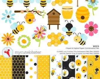 Bees Clipart & Digital Paper Set - clip art set of bees, honeycomb, flowers, paper - personal use, small commercial use, instant download
