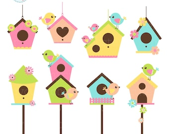 Birds and Birdhouses Clipart Set - clip art set of birds, birdhouses, spring, cute - personal use, small commercial use, instant download