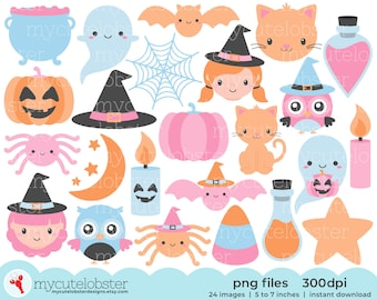 Pastel Happy Halloween Clipart - ghosts, potions, pastel halloween, pastel clipart - Instant Download, Personal Use, Small Commercial Use