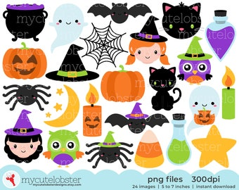 Happy Halloween Clipart - halloween clip art, spider clipart, pumpkins, bats, potions - Instant Download, Personal Use, Small Commercial Use