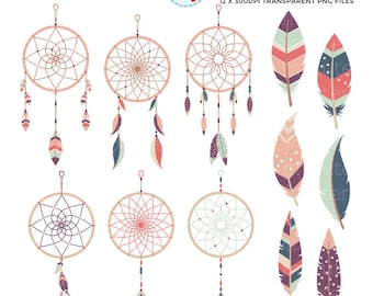 Soft Dreamcatchers Clipart Set - clip art set of dreamcatchers, feathers, tribal - personal use, small commercial use, instant download