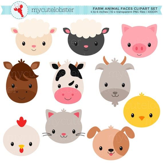 Farm Animal Faces Clipart Set Animal Faces Farmyard Farm