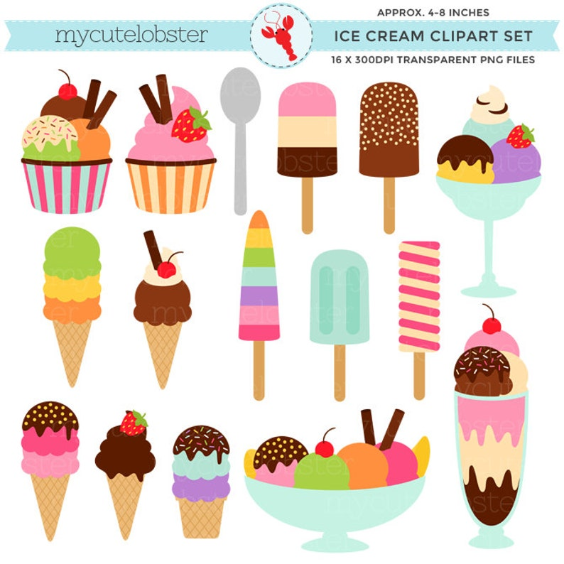 4bb029bc8ff57 Ice Cream Clipart Set - clip art set of ice cream cones, ice lolly,  sundaes, summer - personal use, small commercial use, instant download