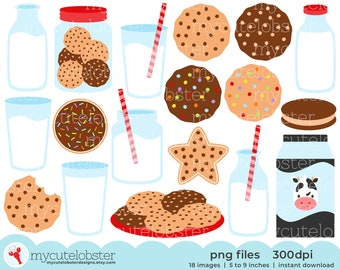 Milk and Cookies Clipart - clip art set of cookies, milk, bottles, chocolate chip - Instant Download, Personal Use, Small Commercial Use