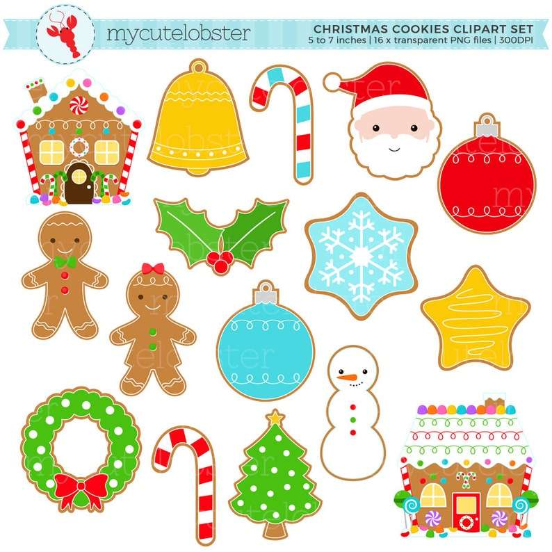 Christmas Cookies Clipart Set Clip Art Set Of Gingerbread Christmas Cookies Santa Personal Use Small Commercial Use Instant Download