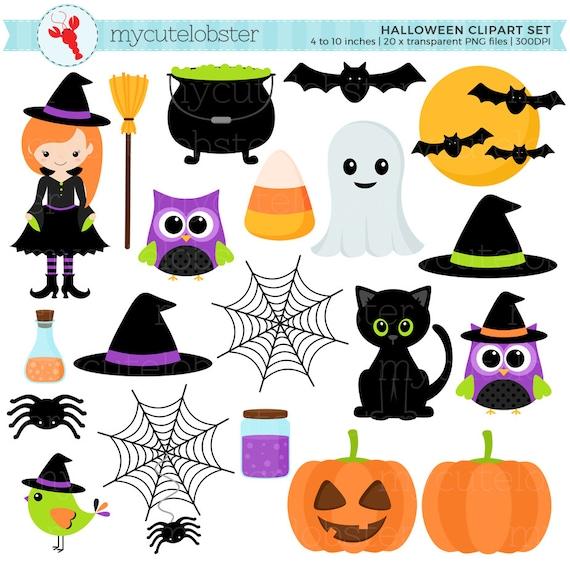 Halloween Clipart Set Clip Art Set Of Witch Cat Halloween Etsy