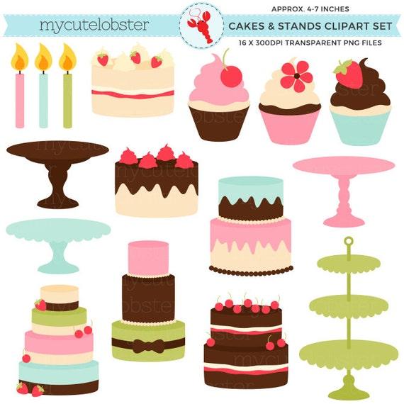 Kuchen Steht Clipart Set Kuchen Muffins Steht Kerzen Etsy