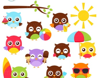 Summer Owls Clipart Set - clip art set of cute owls, ice cream, beach, surfboard - personal use, small commercial use, instant download