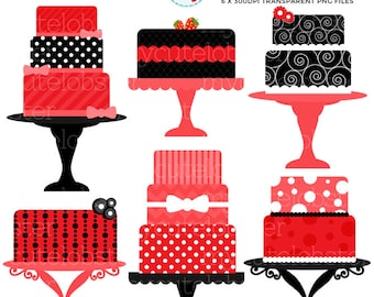 Red and Black Cakes Clipart Set - clip art set of bold cakes, red cakes, black cakes - personal use, small commercial use, instant download