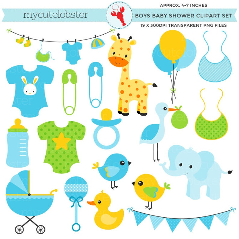 Boy S Baby Shower Clipart Set Bibs Animals Stork Etsy