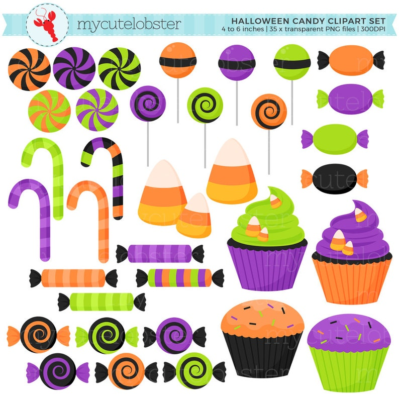 Halloween Candy Clipart Set clip art set of candy sweets ...