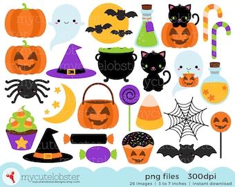 Halloween Clipart - cute halloween clip art, bats, potions, cauldron, pumpkin clipart - Instant Download, Personal Use, Small Commercial Use