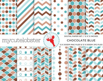 Digital Paper Set - Chocolate Blue - patterned paper, brown, polka, arrow, stripe - personal use, small commercial use, instant download
