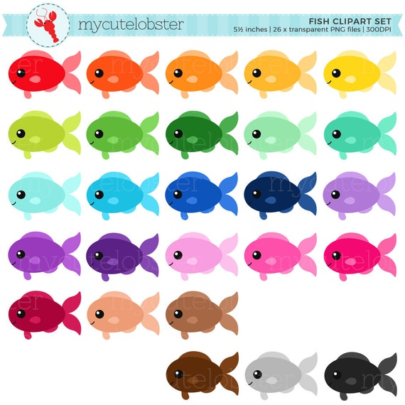 rainbow fish clipart set clip art set of fish cute fish happy rh etsystudio com Rainbow Fish Scales Rainbow Fish Story