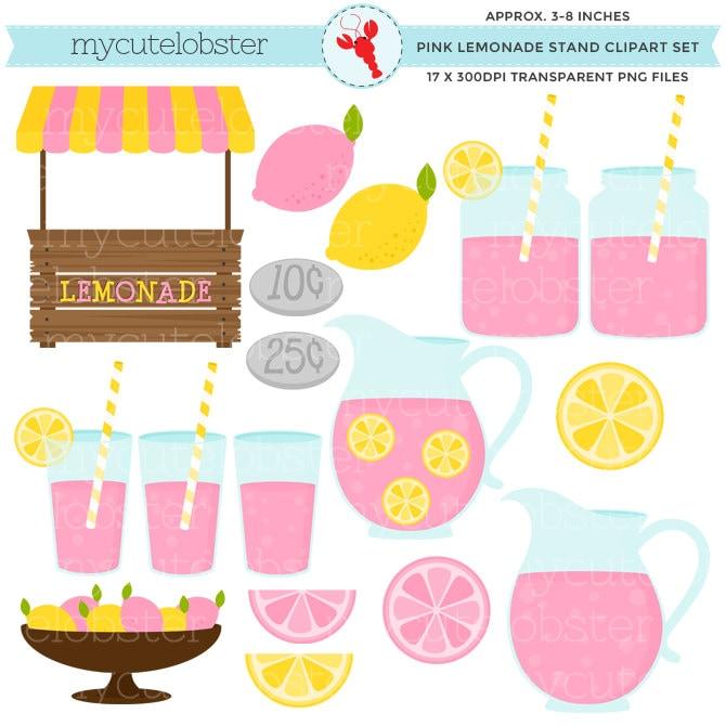3dd2464e706 Pink Lemonade Stand Clipart Set - clip art set of pink lemonade