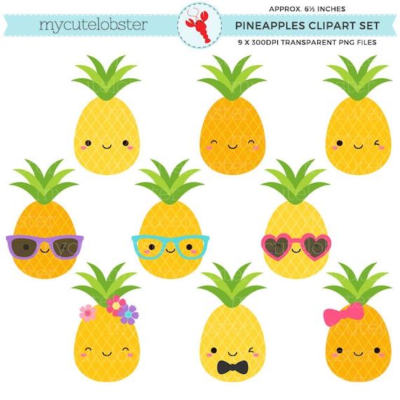 Cute Pineapples Clipart Set pineapple clip art fun | Etsy