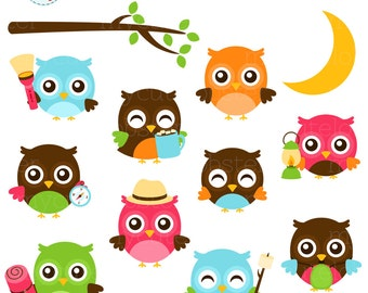 Camping Owls Clipart Set - clip art set of cute camping owls, lantern, moon, torch - personal use, small commercial use, instant download