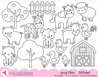 Farm Animals Digital Stamps - cow, horse, barn, line art, outlines, farm outlines - personal use, small commercial use, instant download