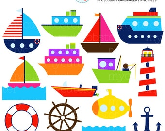Sea Transport Clipart Set - clip art set of boats, ocean transport, sea transport - personal use, small commercial use, instant download