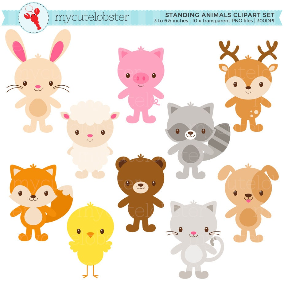 cute animals clipart set standing animals clip art rabbit etsy rh etsy com cute animal clipart images cute animal clipart free