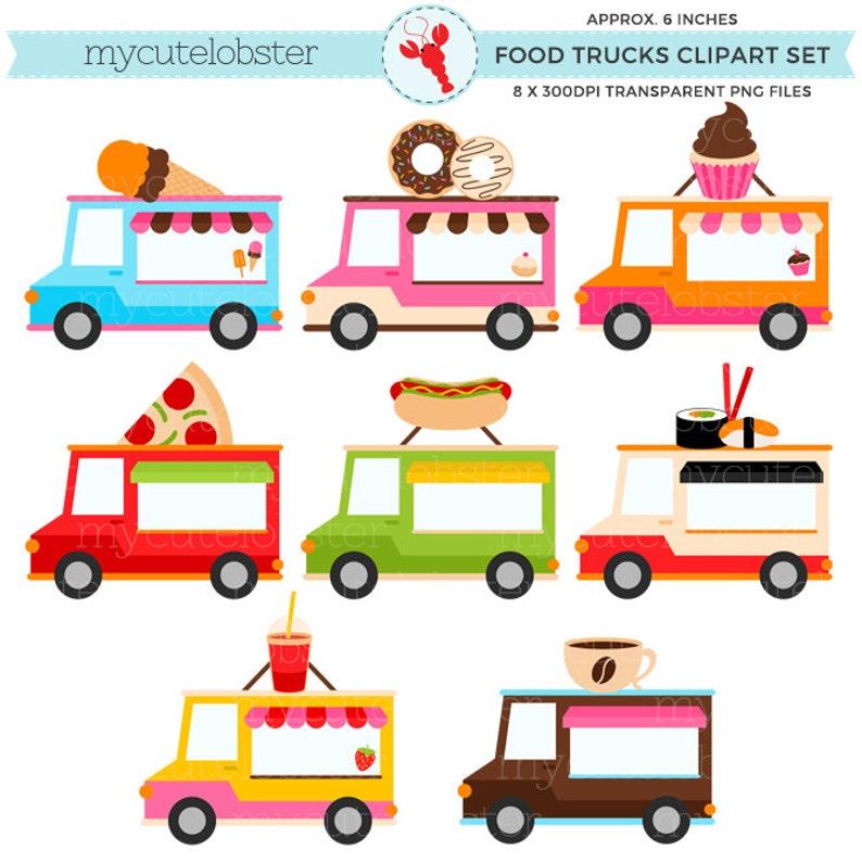 6c29421d92a Food Trucks Clipart Set clip art set of trucks hotdog